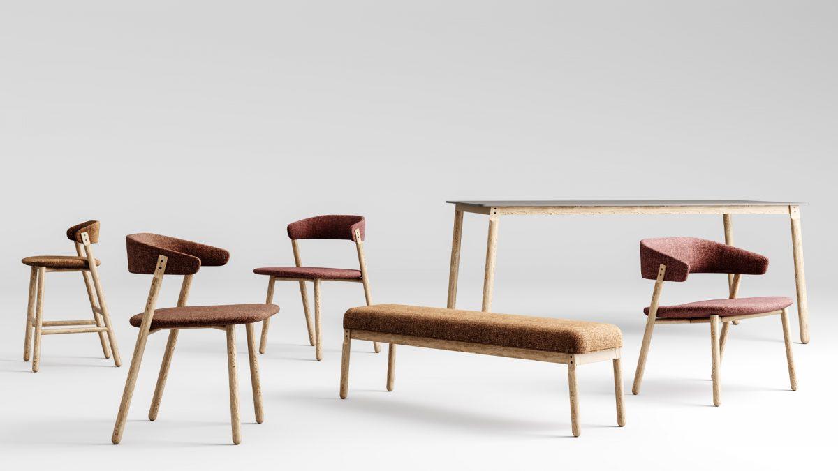 Render con tutti i prodotti del sistema button: sedia, sedia con braccioli, lounge, sgabello, panca e tavolo