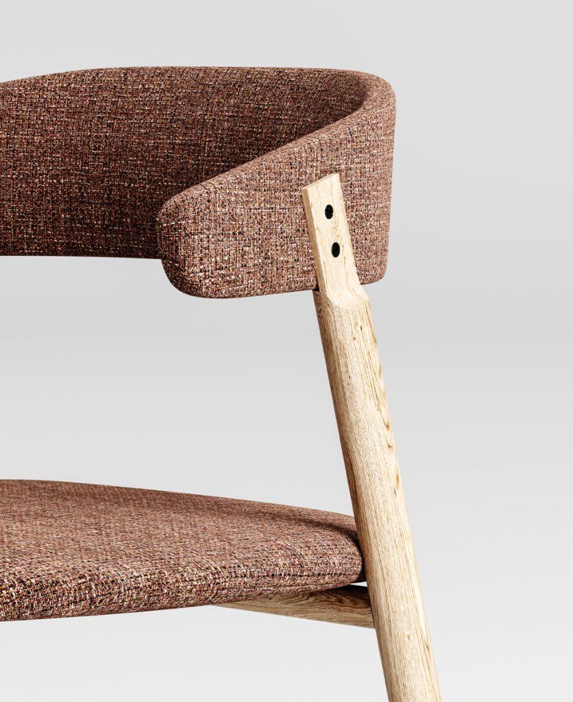 foto di dettaglio della sedia button, incastro schienale con struttura