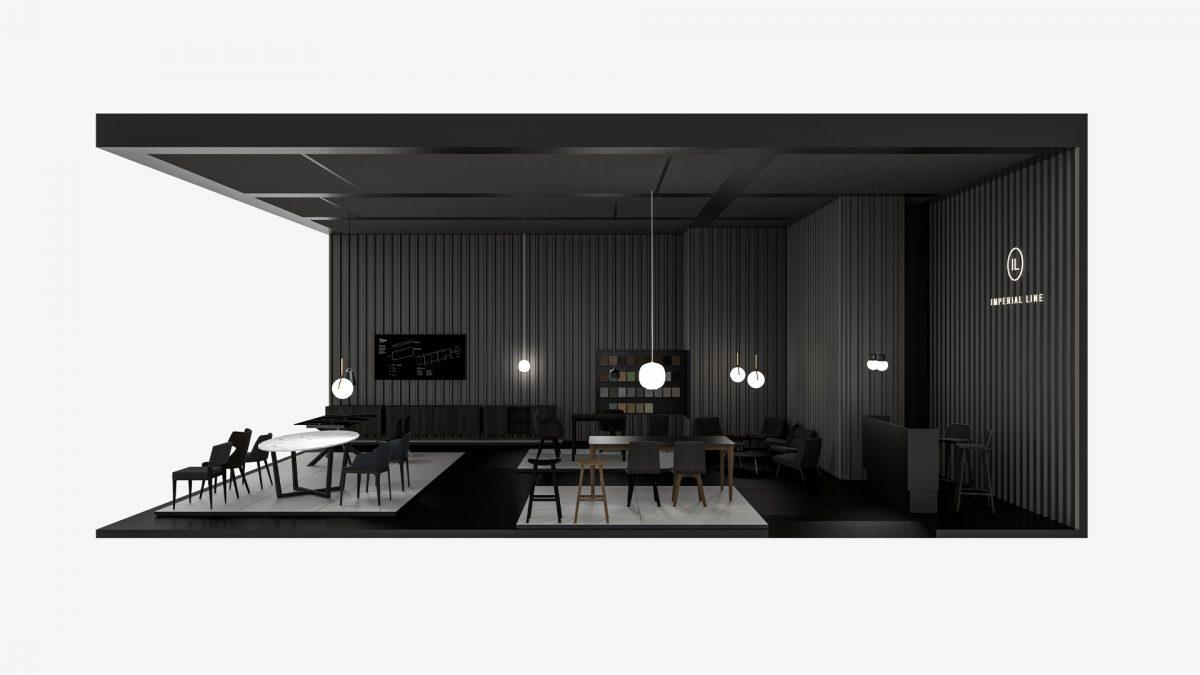 Render dello stand interamente sulle tonalità del nero con delle piattaforme rialzate in pavimentazione bianca con sopra esposti i prodotti, pareti in lamiera grecata