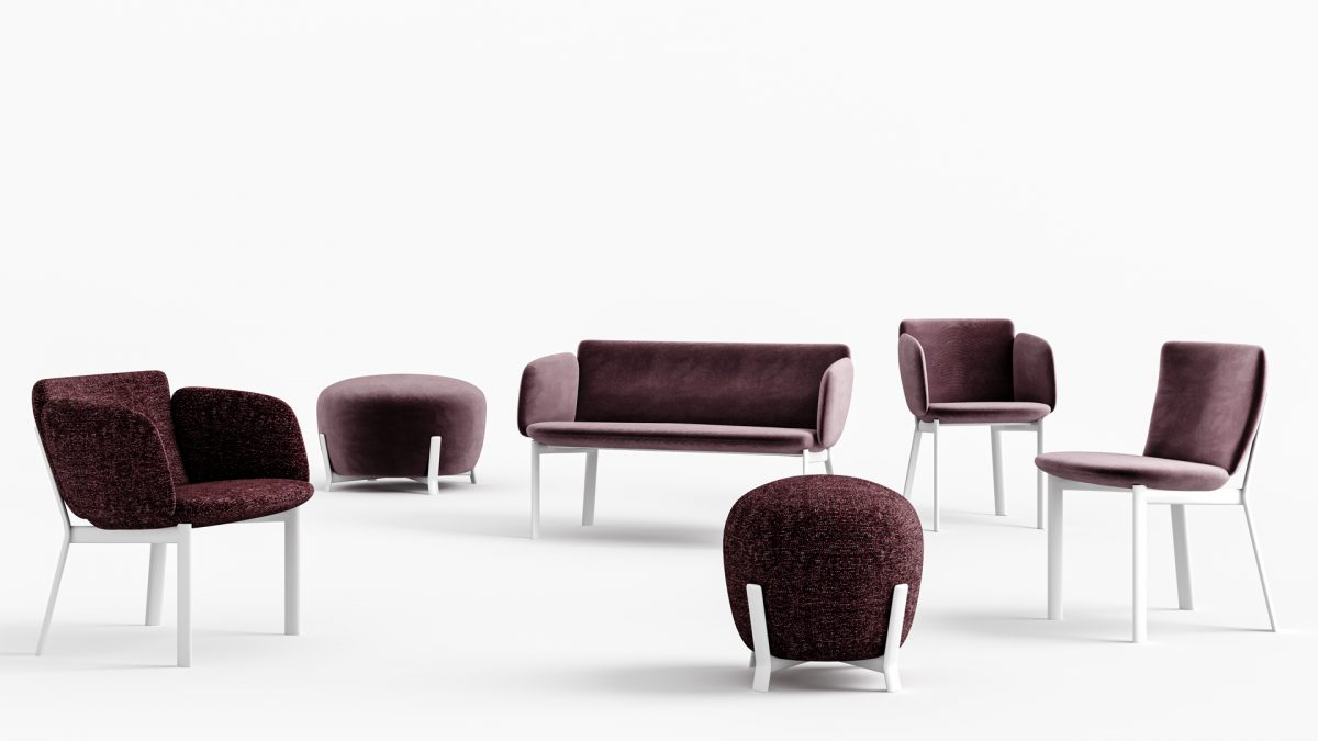 Render con tutti i prodotti del sistema tube: sedia, poltrona, lounge, sgabello, pouf grande e piccolo
