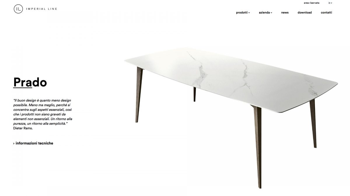 Schermata della pagina del tavolo Prado con a sinistra un breve testo a destra l'immagine del tavolo