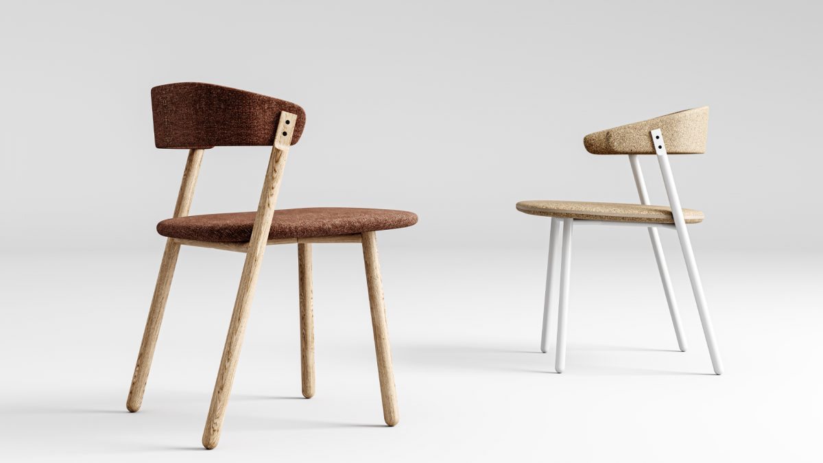 Render della sedia button con struttura in legno e della sedia con braccioli in sughero con struttura in metallo
