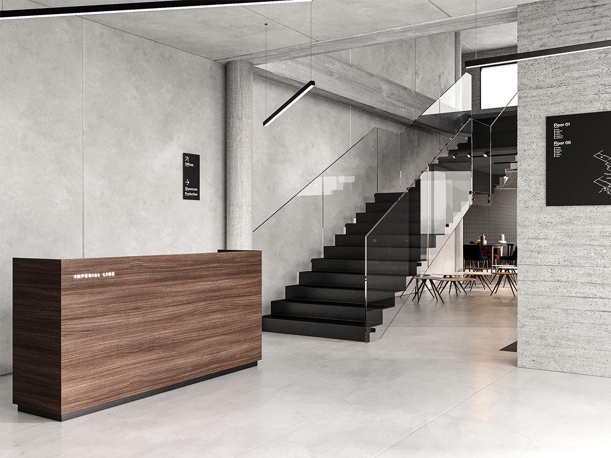 Render dell'ingresso degli uffici Imperial Line con bancone dell'accettazione e scalinata centrale
