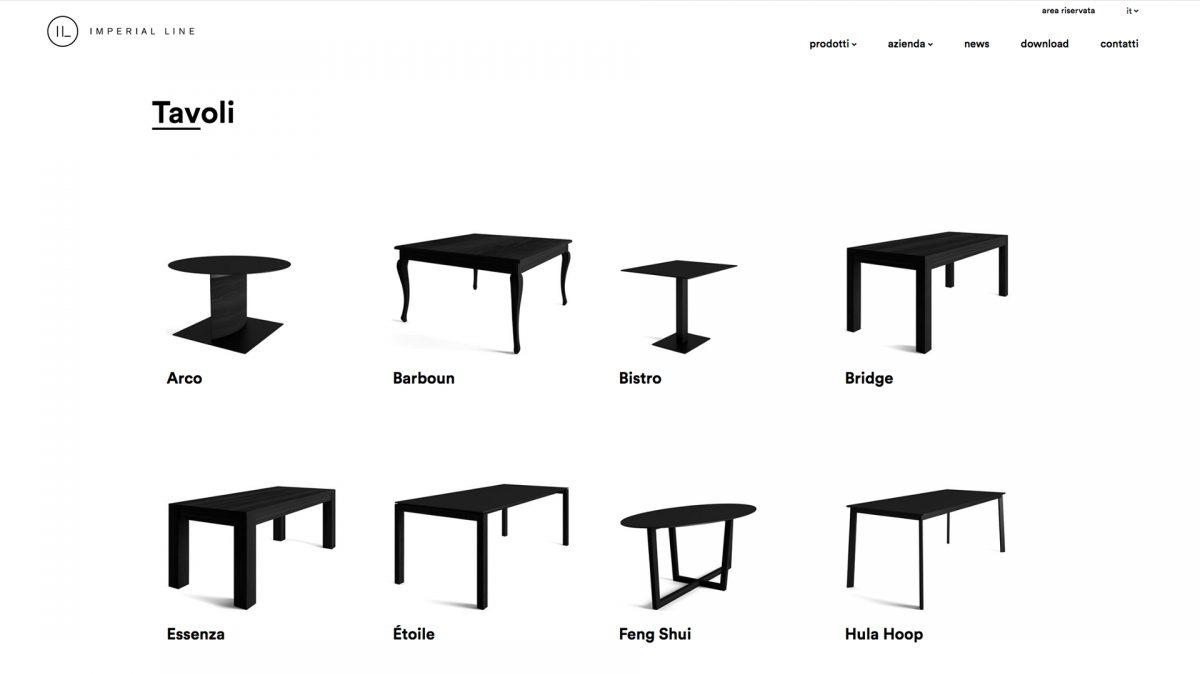 Pagina con elencati i tavoli di imperial Line