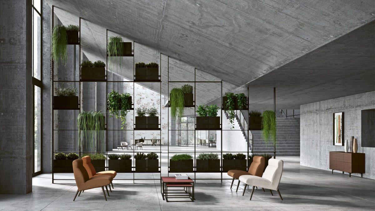 Render dell'ingresso dell'ambiente protagonista di places 2019, grande stanza con pareti in cemento armato con delle piante a dividere i due ambienti