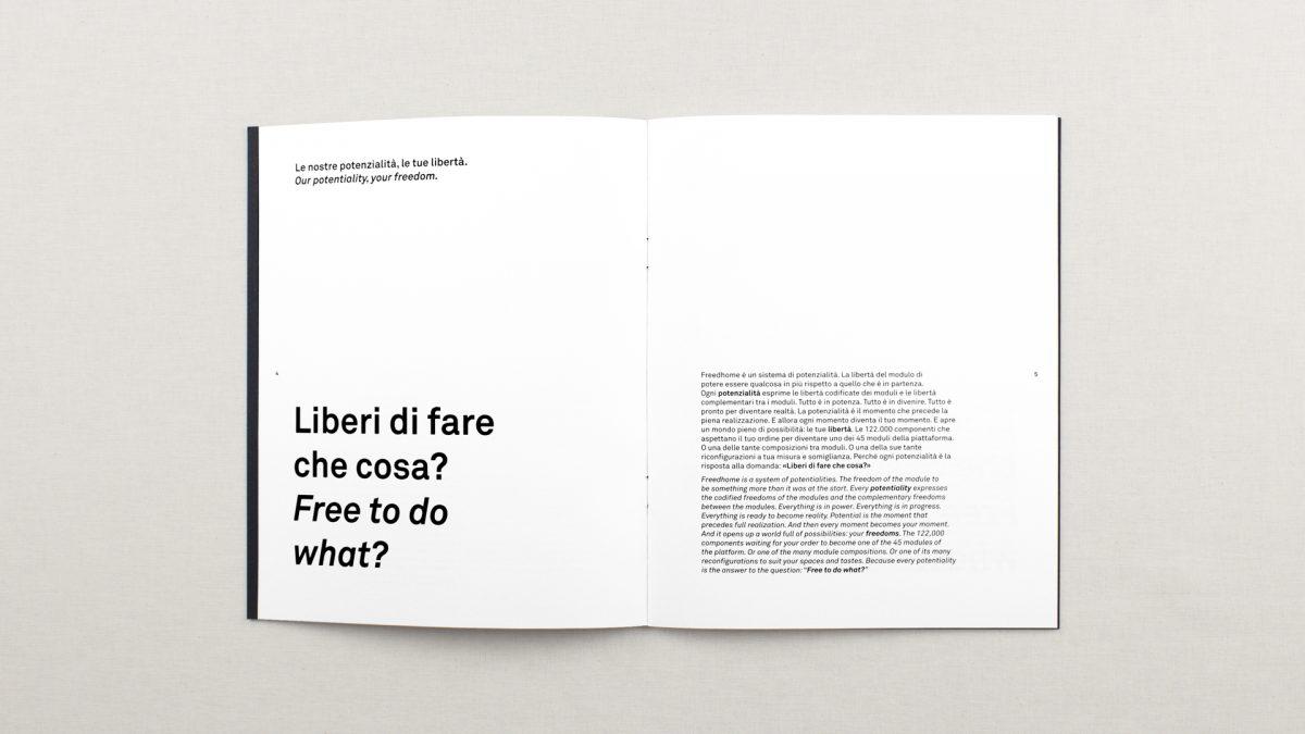 vista zenitale della doppia pagina di apertura dove si racconta il concept del strumento, titolo a sx, testo a destra