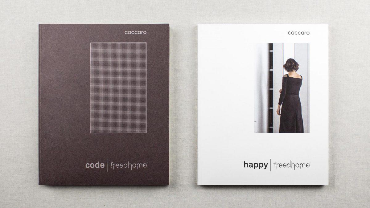 Foto delle copertine di cataloghi Code e Happy di Caccaro
