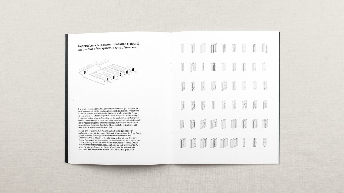 vista zenitale di una doppia pagina di apertura dove si racconta il sistema freedhome attraverso una infografica