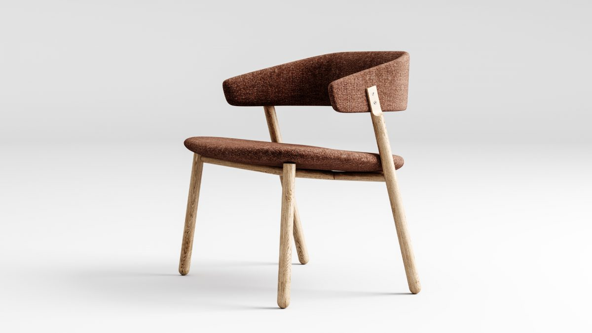 Lounge button con struttura in legno