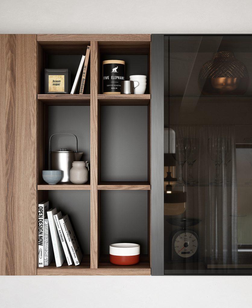Render di dettaglio di un tetris centrale con all'interno libri, contenitori e tazze