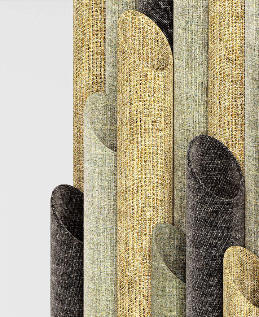 Dettaglio degli elementi tubolari che compongono T-wall con rivestimento sulle tonalità del giallo e grigio scuro