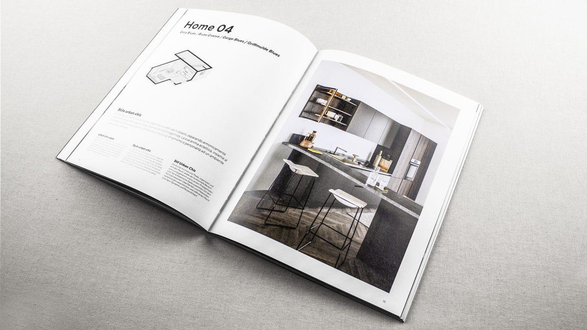 Foto delle pagine interne del catalogo Colibrì gola con un'assonometria e un render generale della cucina descritta