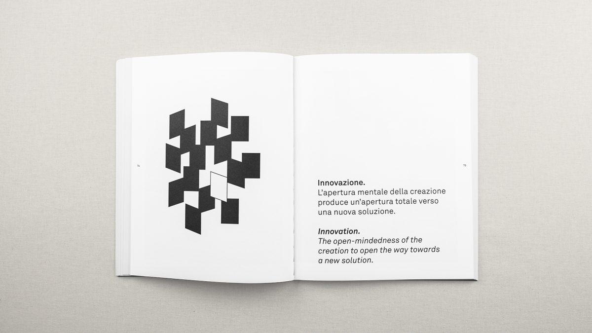 Foto dell'interno del catalogo che mostra l'illustrazione che descrive l'innovazione composta da un rettangolo bianco attorno a diversi rettangoli neri