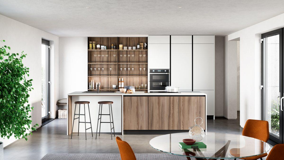Render di una cucina gola con penisola, due sgabelli e pensili con rivestimento in legno e in tinta bianca