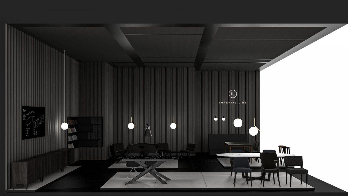 Render dello stand Imperial Line del salone di milano 2019 interamente sulle tonalità del nero con delle zone rialzate con pavimento bianco con sopra esposti i prodotti