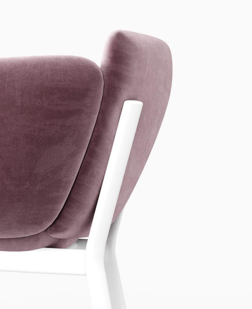 Render del lato del divano tube con particolare della struttura in metallo che sorregge lo schienale