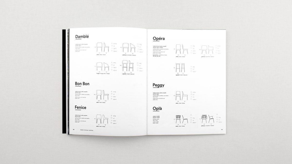 Foto dall'alto delle pagine riguardanti i disegni tecnici delle sedie con le misure e un elenco delle finiture disponibili per ogni prodotto