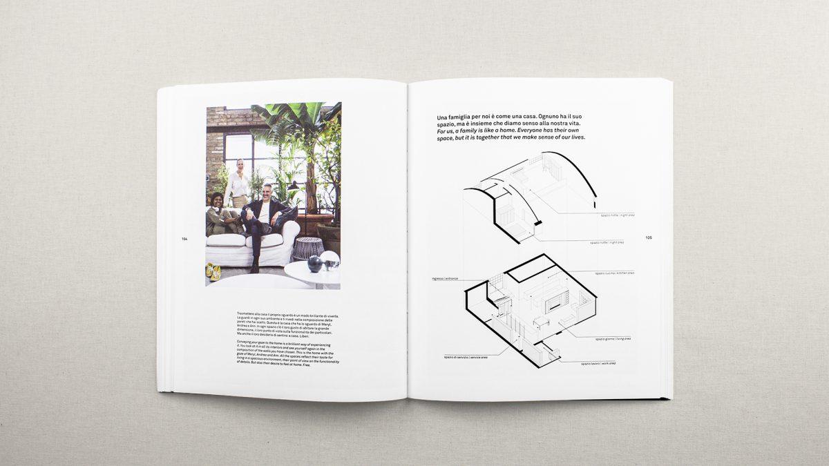 Pagine che descrivono la smarthome, con una foto della famiglia in soggiorno e un'assonometria dell'abitazione