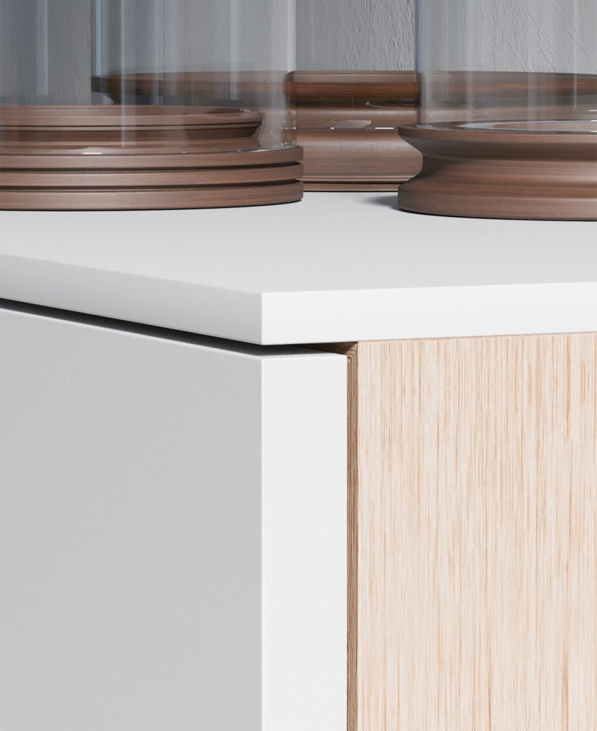 Render del dettaglio dell'angolo della madia Time in legno con frontali e top in fenix