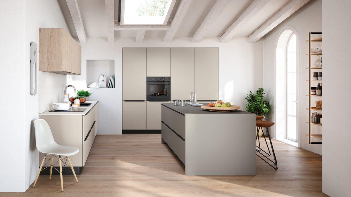 Render di una cucina maniglia con isola all'interno di un ambiente minimal e moderno