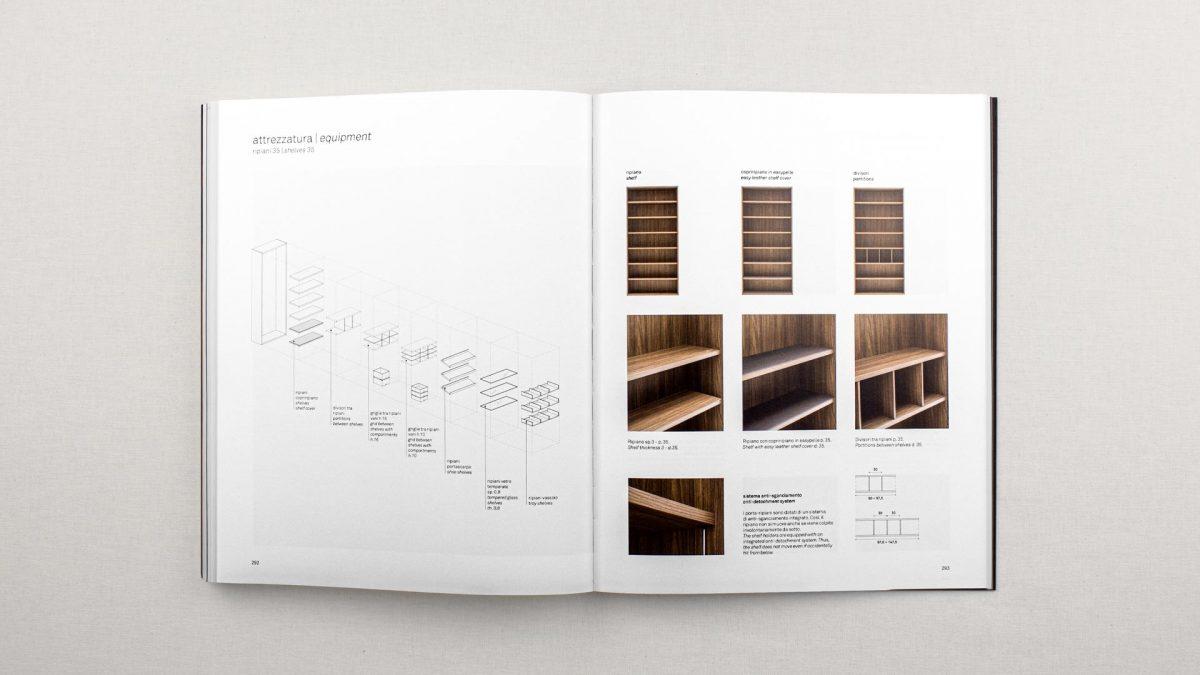 vista zenitale della doppia pagina tecnica dove si vede la panoramica degli accessori da poter inserire all'interno di armadio