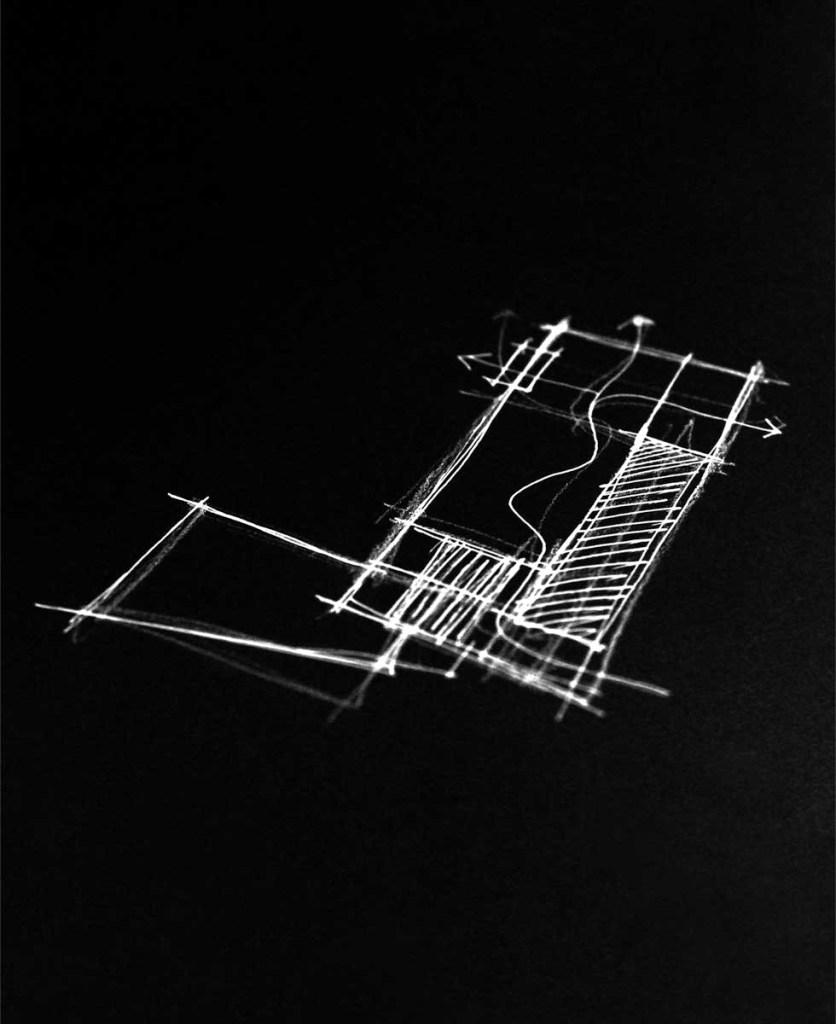 schizzo in bianco e nero relativo al progetto di una casa unifamiliare